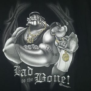 Jerzees Shirts - Bad to the Bone Popeye graphic tee shirt sz 2XL